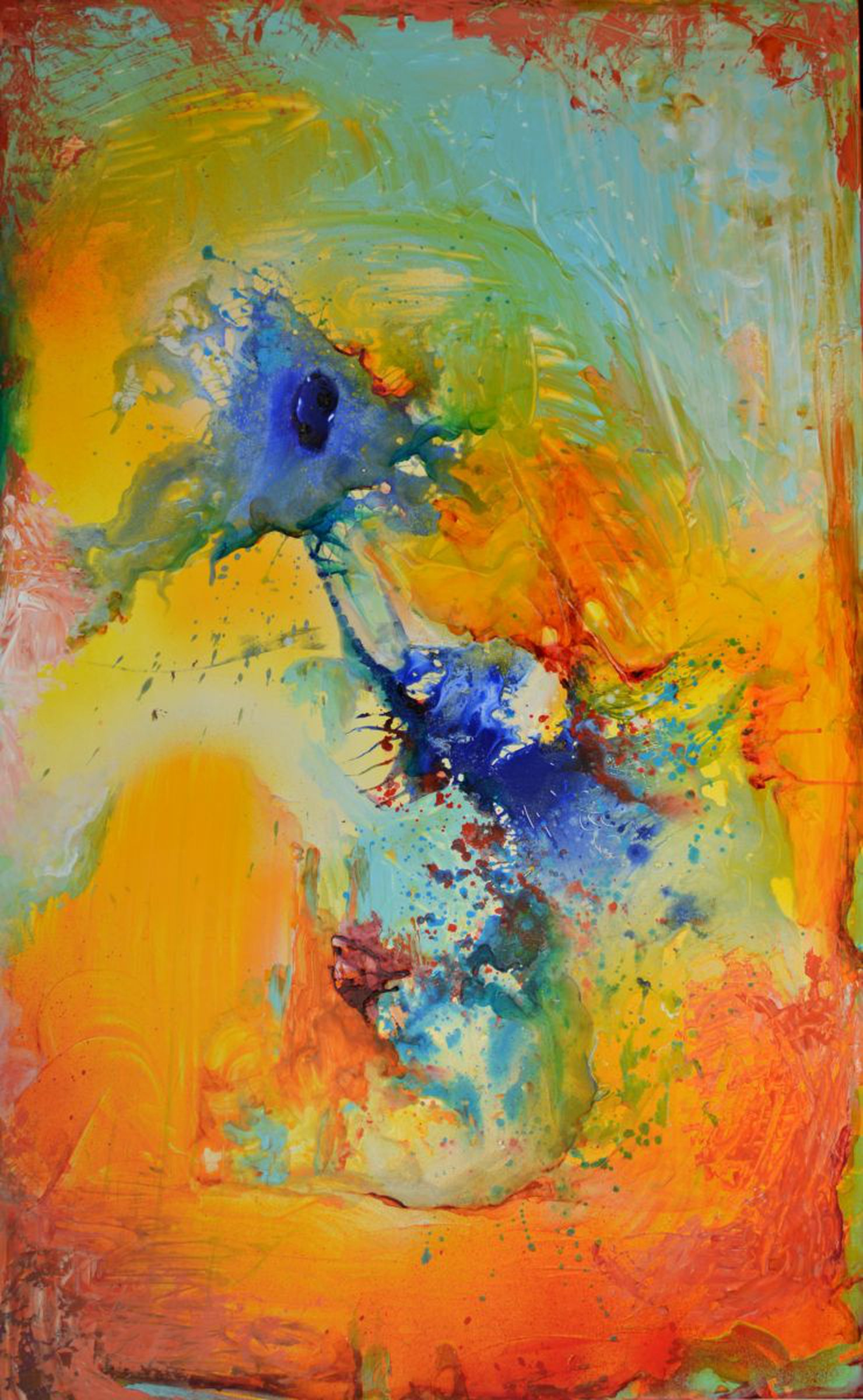 The Orange See Withdrew - Large Modern Ready to Hang Abstract Painting,  Office Wall Decoration