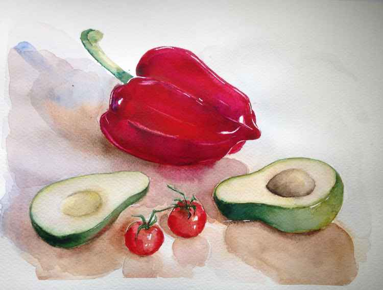 Still life with red pepper and avocado