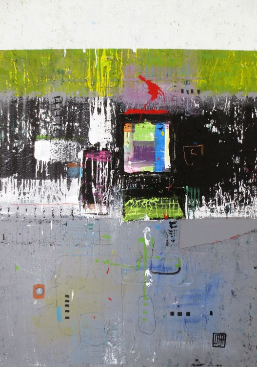 A44 Contemporary abstract minimalist Spiritual Architecture Landscape Acrylic on canvas Large wall art Painting - Image 0
