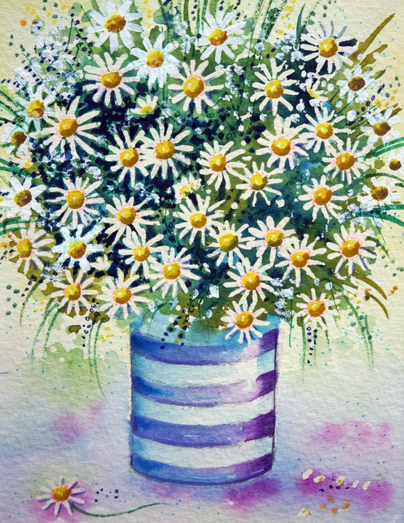 Daisies in a striped pot - Image 0