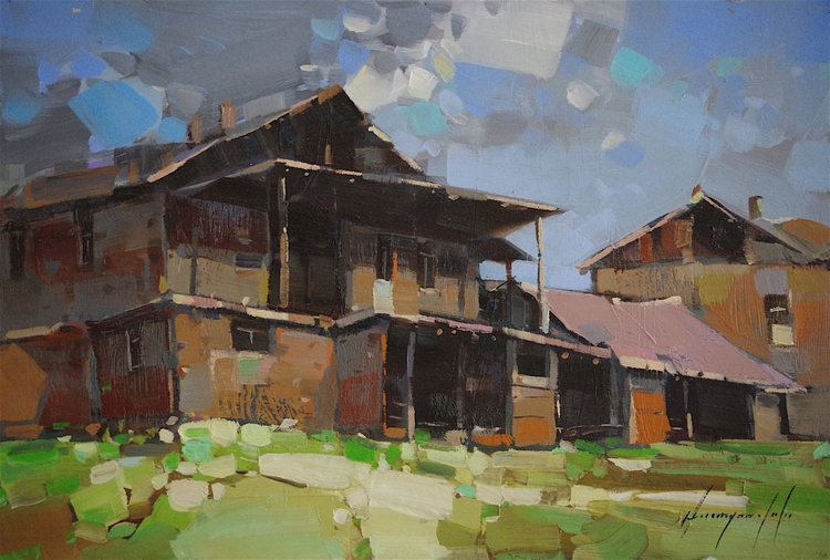 Landscape oil painting, Village, The old House,  One of a kind, Signed, Handmade art. - Image 0