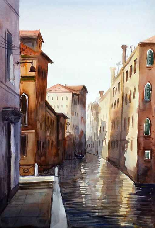 Beauty of Morning Venice - Watercolor Painting -