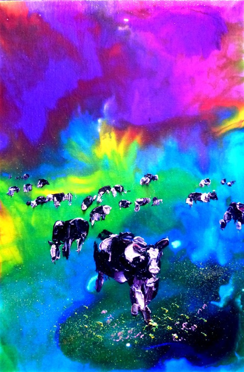 Cows, oil painting 20x30 cm - Image 0