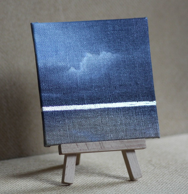 Dark blue seascape with real silver leaf detail - Image 0