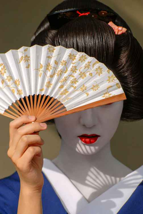 Geisha with Fan -