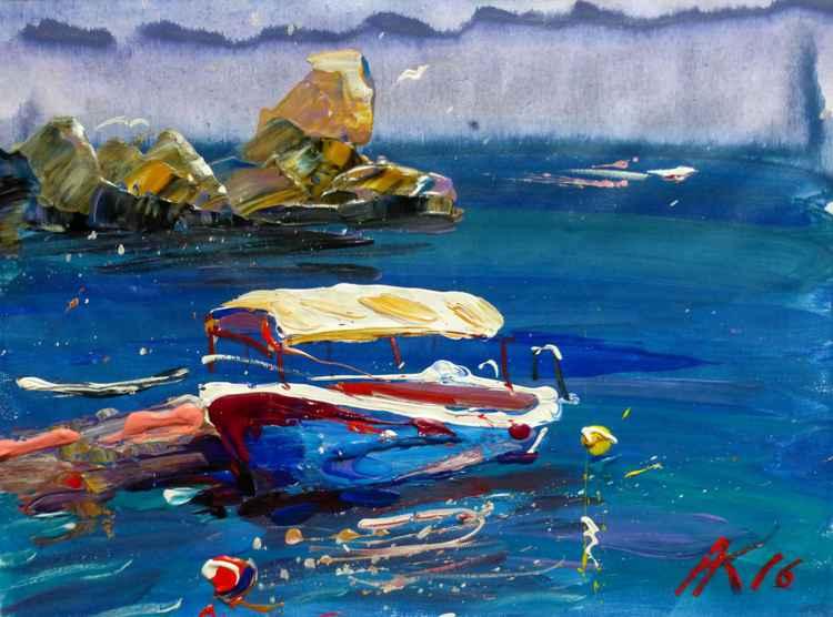 Boat, original painting 40x30 cm