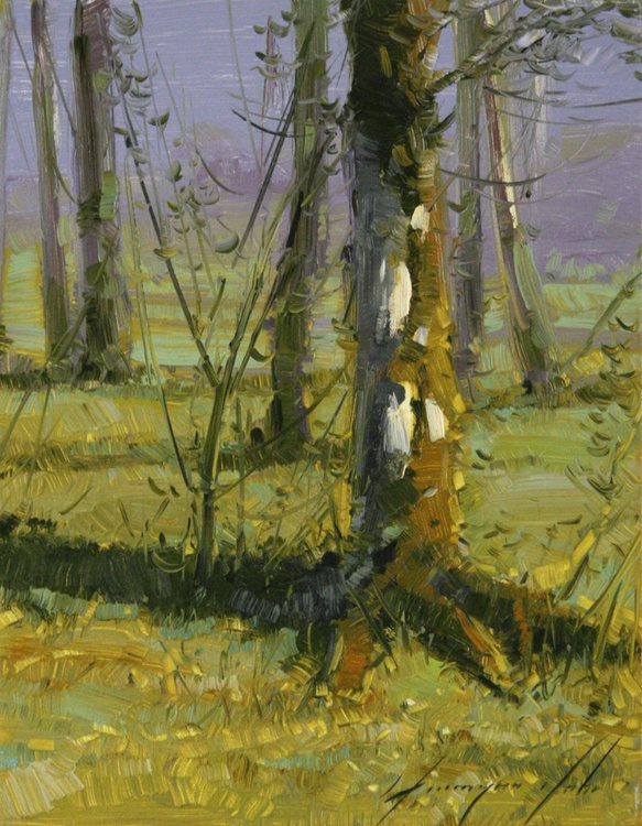Birches Trees Oil Painting on Canvas - Image 0