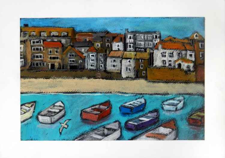 Summer boats, St Ives harbour. -
