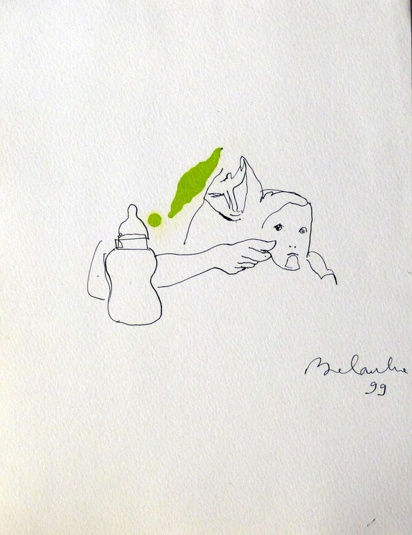 Mother feeding a baby, 24x32 cm - Image 0