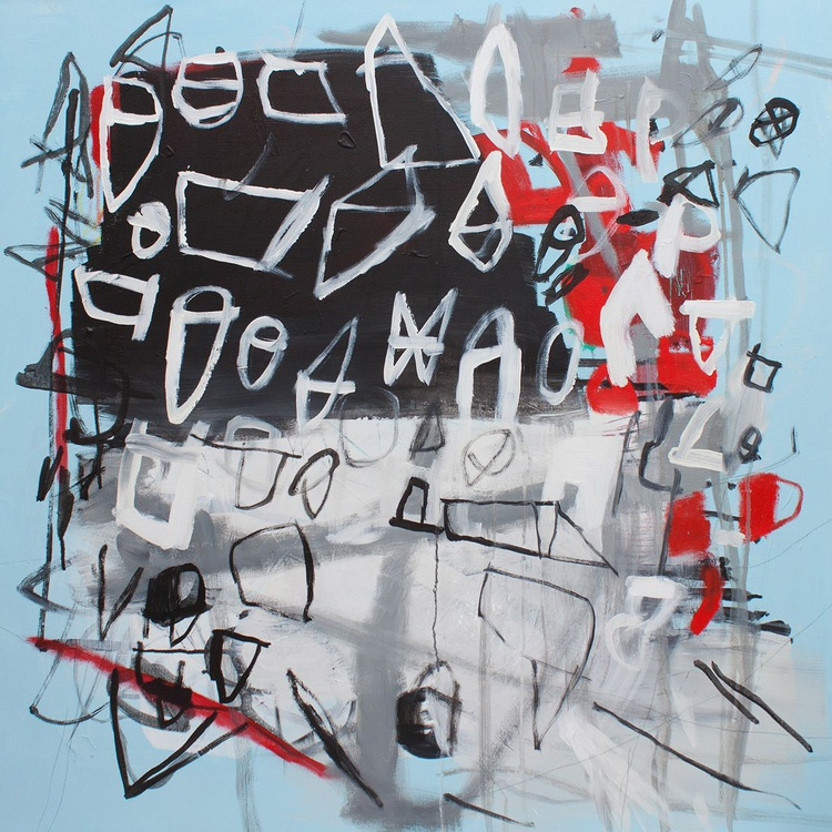 Letters To Myself 02 (80x80 cm, Acrylic Abstract, Ready to Hang) - Image 0