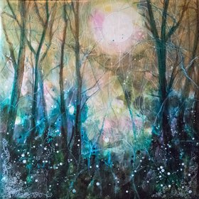 """Enchanting Forest, mixed media on canvas, 60x60 cm, 2017"" by Fabienne Monestier"
