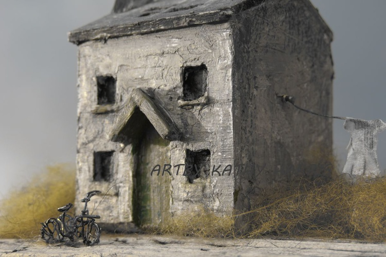 Sculpture art photo of derelict house with bike (sun down) - Image 0