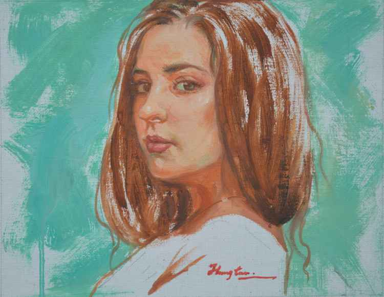 original oil painting art portrait of beautiful girl on canvas#16-1-25