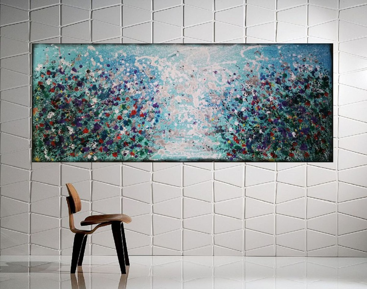 """59x 23,5""""( 150x60cm),  Rhodos Island 3 Landscape extra large abstract painting, urban art, large canvas art,  green shades - Image 0"""