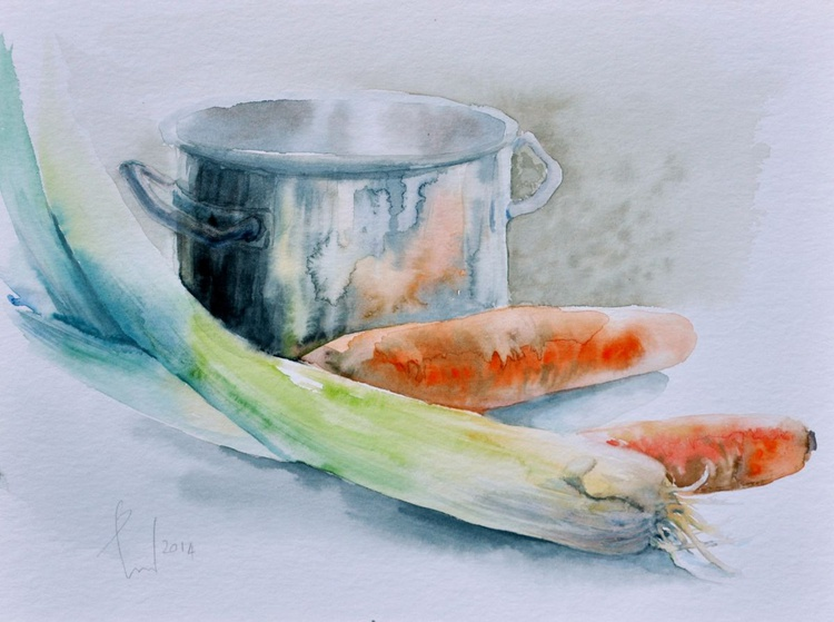 AROUND THE POT original watercolour - Image 0