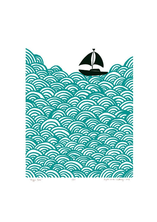 Bigger Boat A2 Size in Green Lagoon - Unframed - FREE Worldwide Delivery - Image 0