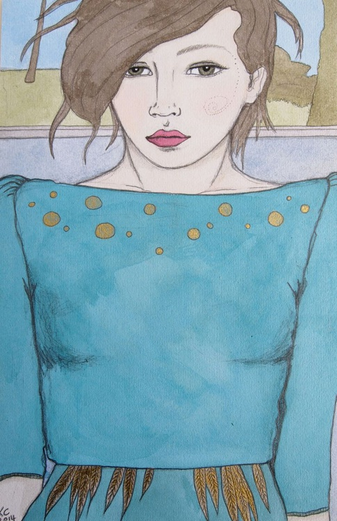 Girl in Turquoise & Gold - Image 0