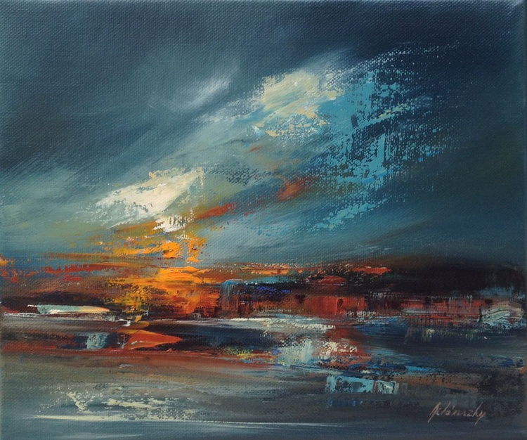 Evening Lights II. - 25 x 30 cm, abstract oil painting in blue and orange - Image 0