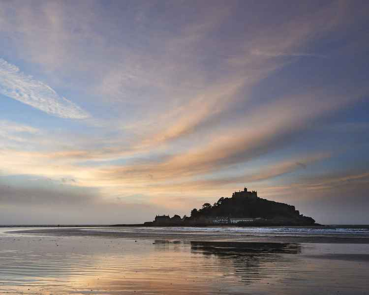 Curved clouds over St Michael's Mount