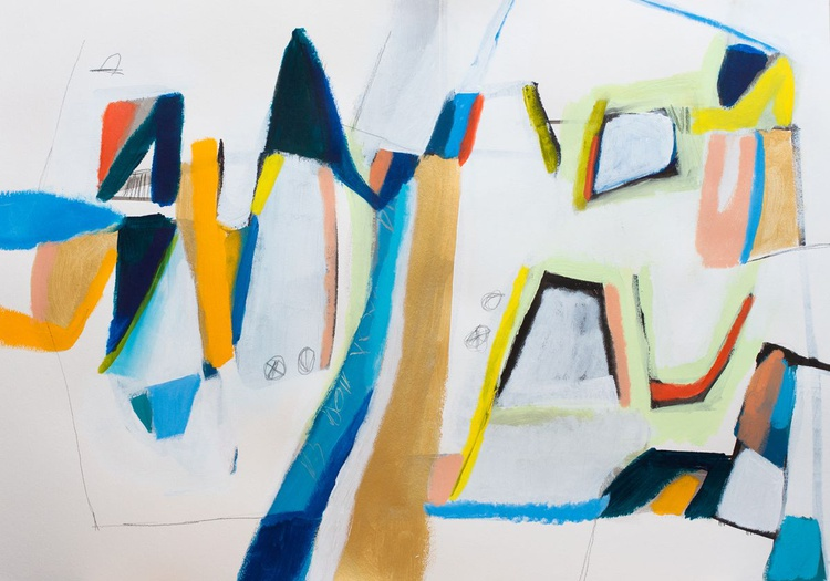 Houses 35 (100x70 cm, Acrylic and Charcoal on Paper) - Image 0