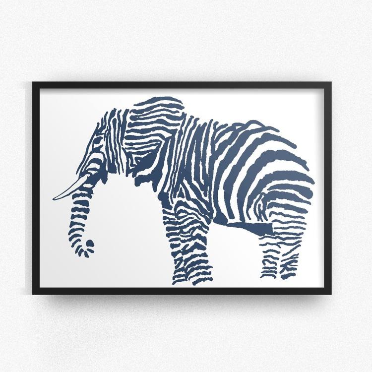 Hand Drawn Navy Blue Elephant Framed Digital Artwork Print - Image 0
