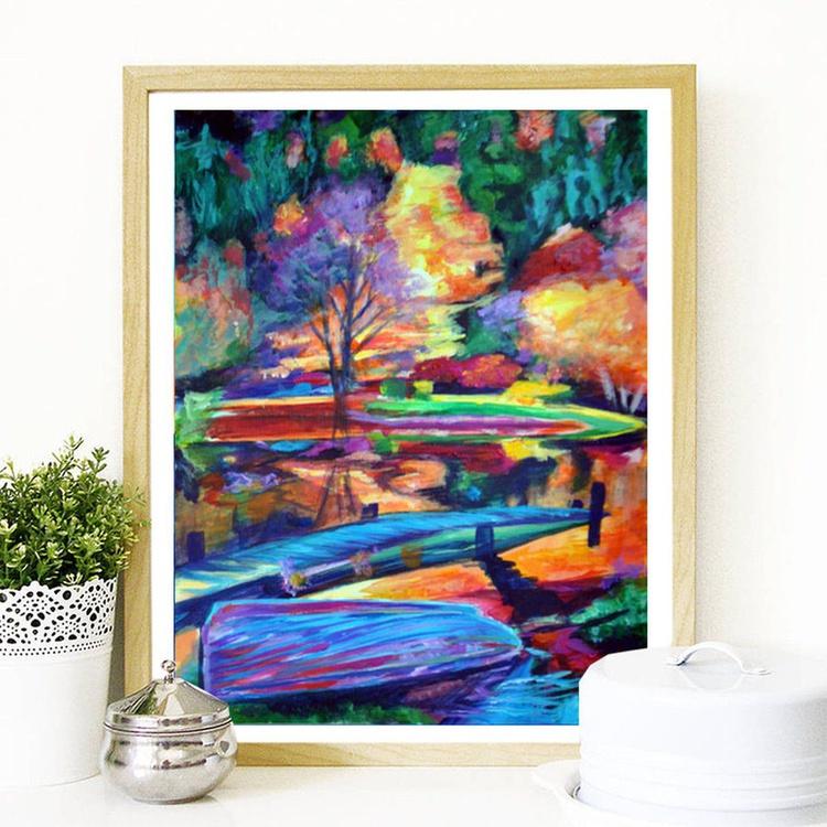 "Orignal Autumn Landscape Painting - ""Boat Blue"" Acrylic on Canvas Paper - Image 0"