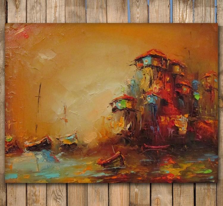 Odysseus' motive, Seascape Oil Painting, free shipping - Image 0
