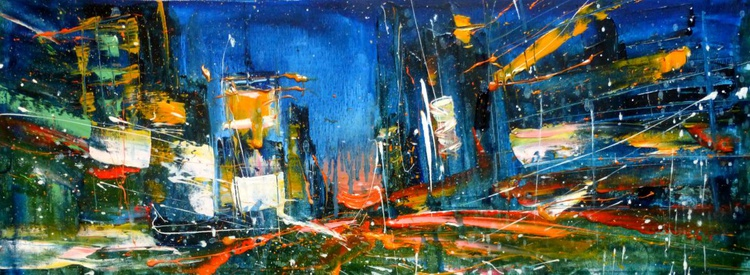 I love the evening city,  oil painting 80x30 cm - Image 0