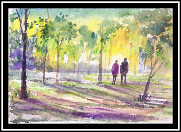 "Walk through the misty woods ( 11.75""x 8.25"") - Image 0"