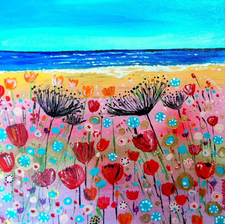 Allium and Tulips by the Sea - Image 0