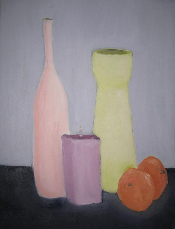 Vases, Candle and Oranges - Image 0