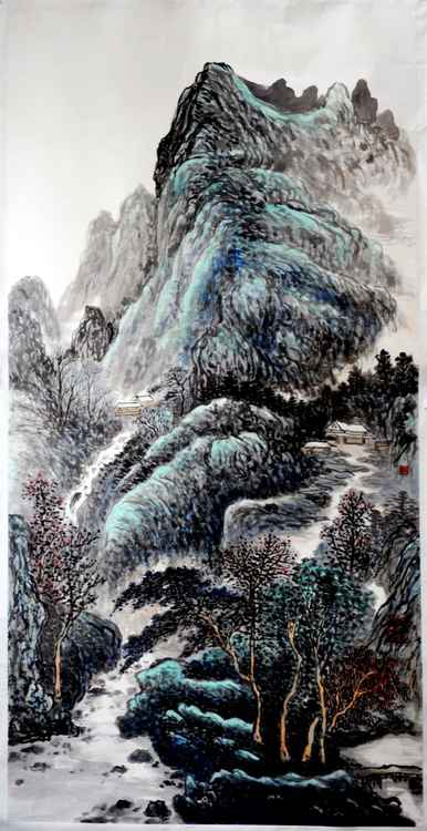 Chinese watercolour Landscape paining, with heavy colour-14 -
