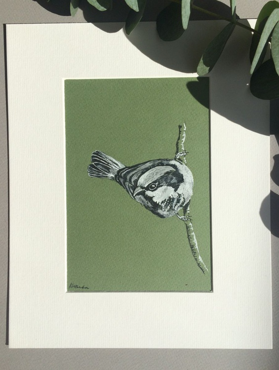 House Sparrow, Ink Portrait - Image 0
