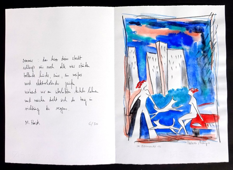 Summer - poem and gouache on hand-made paper - Image 0