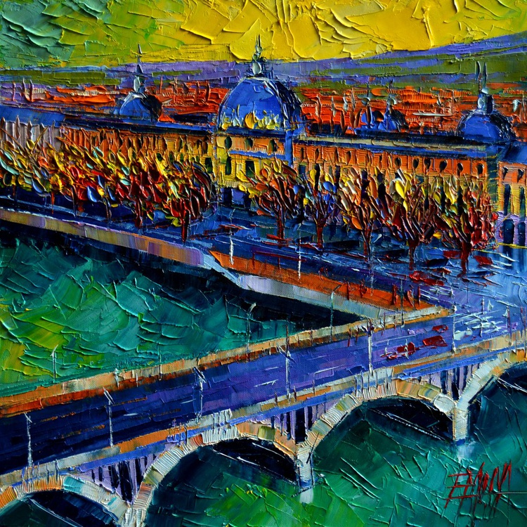 Pont Wilson and Hotel Dieu de Lyon - contemporary impressionist palette knife oil painting - Image 0