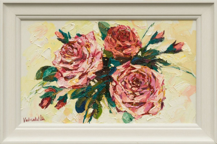 Pink roses oil painting Framed - Image 0