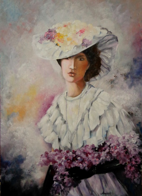 Lady with purple flowers - Image 0