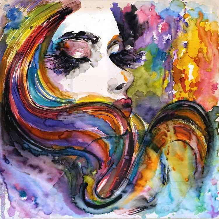 Wind watercolor on canvas -