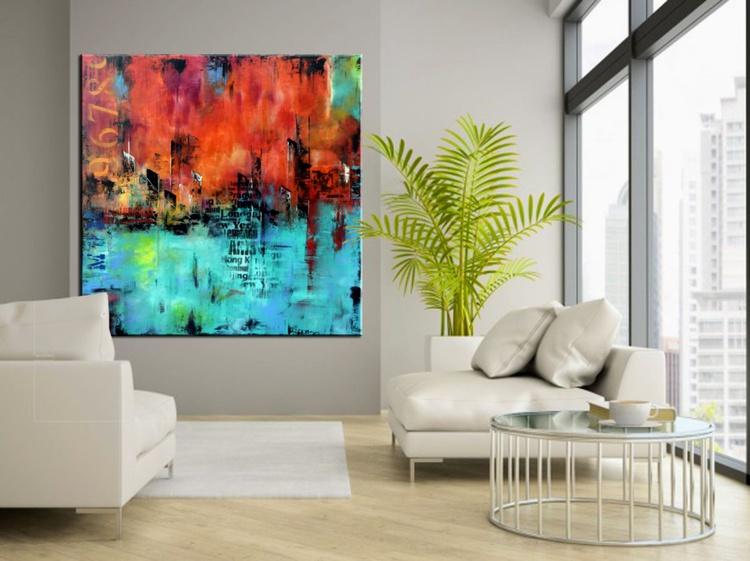 "Large Abstract urban Painting, Las Vegas Abstract Skyline, 48""x48"" orange and aqua green handmade art - Image 0"