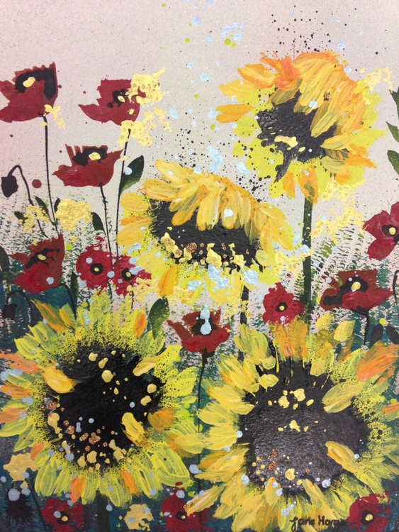 Sunflowers and poppies (framed) - Image 0