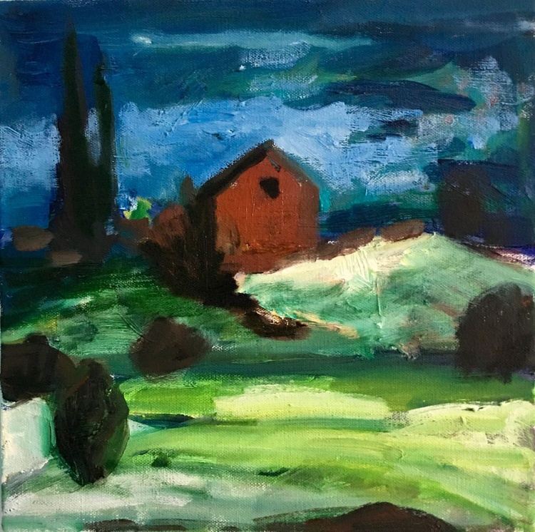 Farm on the Hill, small expressionist oil painting - Image 0