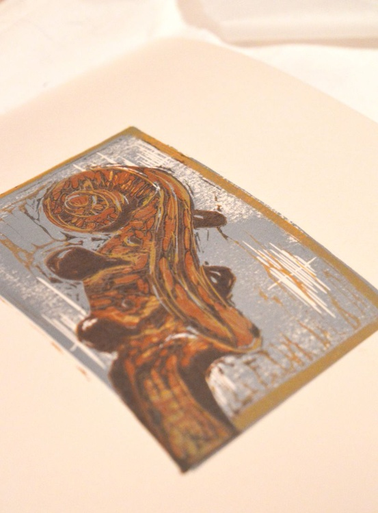 "Violin: ""Scroll and Tune'', Handmade Reduction Linocut - Image 0"