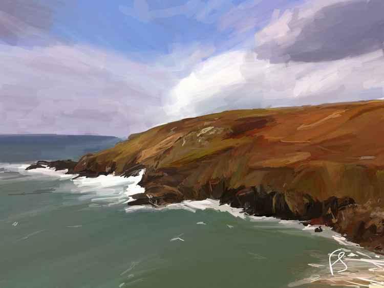'Porthmeor Cliff' Limited Edition iPad Painting