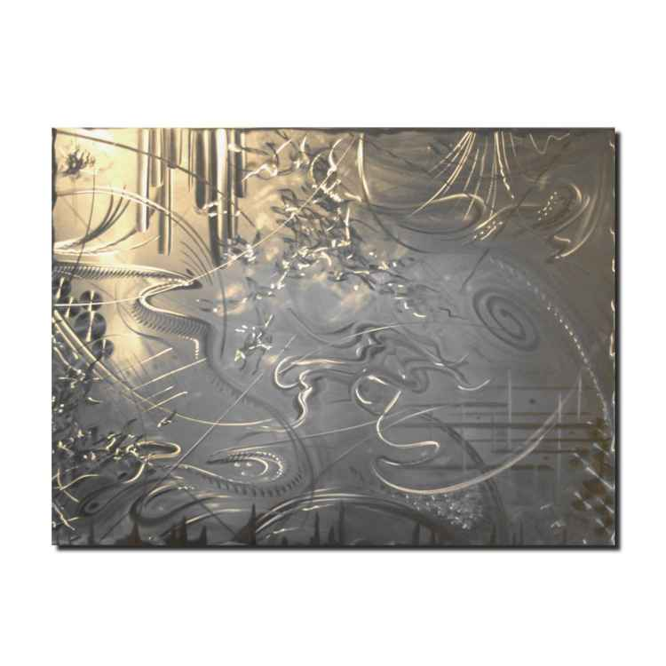 Thunder Storm | Abstract Metal Art - Modern Silver Wall Art - Original Contemporary Decor - Etched Silver Metal Artwork by Nicholas Yust -