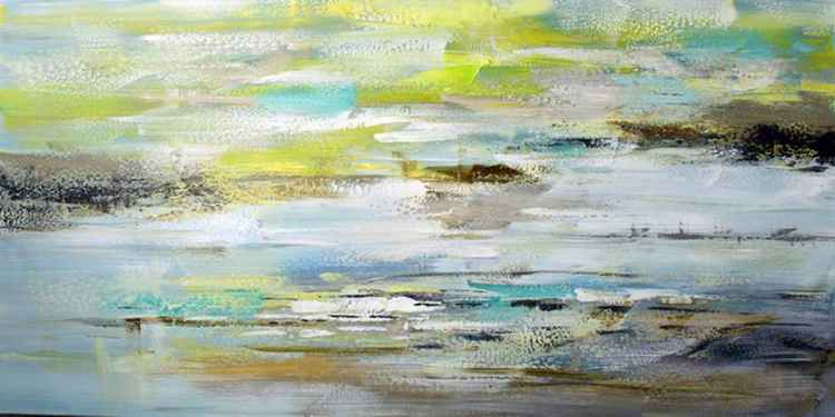 Lost Art - Abstract Acrylic Art Painting - 28x55 inch, 2015  [Discounted Sale] -