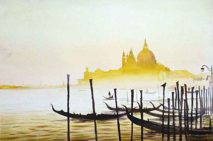 Golden Morning Venice - Watercolor on Paper -