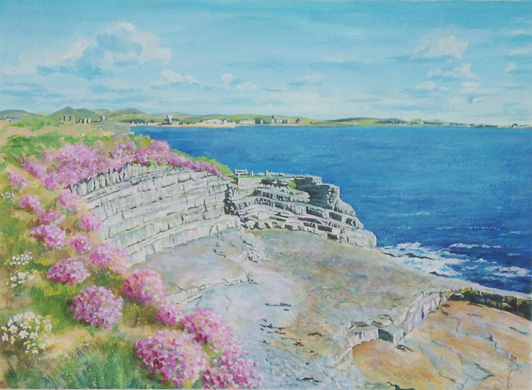 Sea pinks and Limestone Cliffs, Scarlett, Isle of Man - Image 0