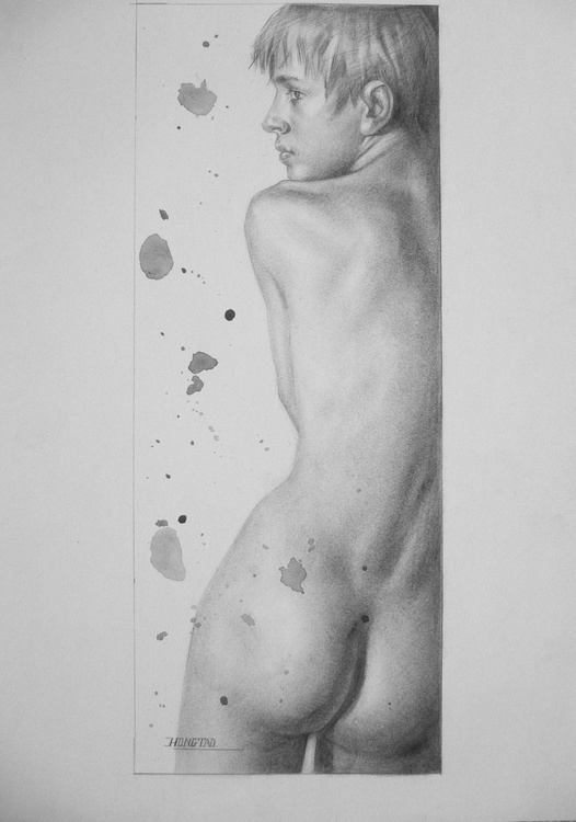 original art charcoal drawing  male  nude boy on paper #16-10-11 - Image 0