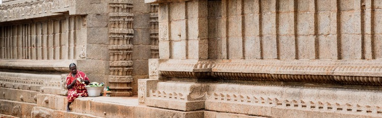Fruit Seller In Ancient Temple. (183x61cm) - Image 0