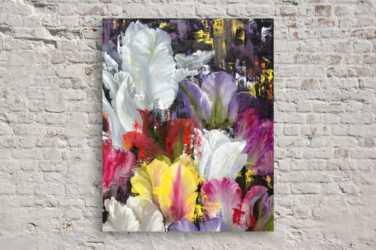 Original artwork beautiful flowers , tulips, abstract floral artwork,floral painting - Image 0